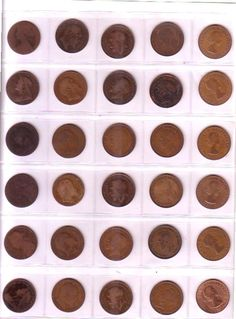 Collection of 30 pre decimal One Penny Coins from Victoria to Elizabeth II Penny Coin, Decimal, Elizabeth Ii, Coins, Victoria, Chocolate, Desserts, Collection, Food