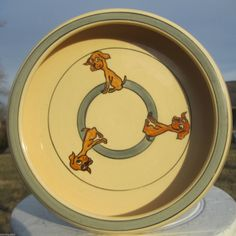 1920s Mint Roseville Brown Puppy Dog Juvenile Ware Child'S Creamware Cereal Bowl
