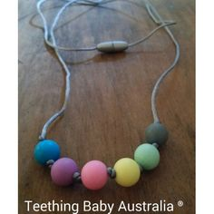 Teething Baby Australia - Pastel Silicone Rainbow chew teething necklace