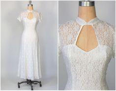 vintage 90s white lace maxi dress / peek a boo cut out