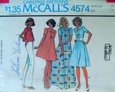70s Smock Top or Dress, McCalls 4574 Sewing Pattern, Size 12, Bust 34. $6.00, via Etsy.