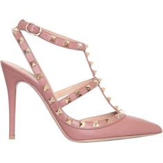 VALENTINO GARAVANI Decolleté Rockstud Sling-Back (3.455 RON) ❤ liked on Polyvore featuring shoes, pumps, heels, sapatos, valentino, pink, studded pumps, high heel slingbacks, sling back pumps and leather shoes