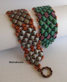 I was honored to have this published in Beadwork magazine June 2016 issue !  Please note that this listing is for the tutorial ONLY in ENGLISH !  Step by step beading instructions with pictures. This document includes the cover and 10 color pages.  The bracelet is made with Kheops beads and Silky beads  Size is adjustable by adding or omitting motif.   This is a non - refundable item.  You may sell items made with the finished beads but only on the condition that you credit me as the…