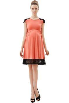 "Momo Maternity ""Mabel"" Lace Insert Skater Dress - Coral S"
