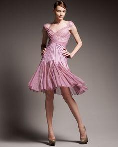 Zac Posen Seamed Godet Lace Dress in Purple (lilac) | Lyst
