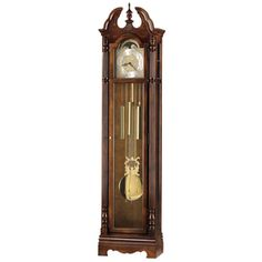 Howard Miller Princeton Classic Grandfather Clock Style Standing Clock with Pendulum and Movements, Reloj de Pendulo de Piso (Cherry Finish), Brown (Wood) Howard Miller, Chain Drive, Polished Brass, Glass Panels, Decorative Pillows, Flooring, Traditional, Antiques, Grandfather Clocks
