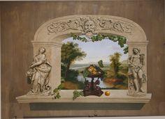 Stencils used include: Abundance statue, Dolphin Bowl, Head of Bacchus, Grapes & Peaches, Main Grapevine, and Grapevine.
