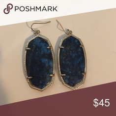 Kenda Scott Danielle earrings Unique blue and gold color that were hand picked stones for these earrings. Hardly ever worn. Like new condition Kendra Scott Jewelry Earrings