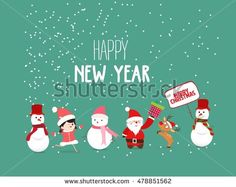 Merry Christmas and New Year Card with Background