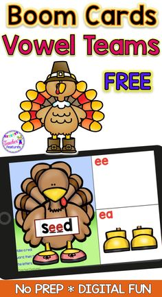"Assess long vowel knowledge with no prep FREE Boom Cards by identifying the correct vowel teams ea/ee in words. Boom Cards digital task cards have movable ""turkey feet"" for students to manipulate, then type the correct vowels. Perfect as a literacy or phonics word work center, review or enrichment for 2nd and 3rd grade students. #boomcards #tpt #thanksgivingactivities #noprep #longvowels #phonicsactivities #boomcardsfree #freeresources #boomcardselementary #teacherfeatures"