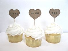 Wedding Cupcake Toppers kraft PERSONALIZED HEART by BluePearls, $8.00