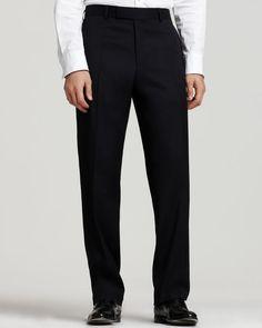 "Boss Hugo Boss Men's ""James Brown"" Navy Flat Front Trousers"