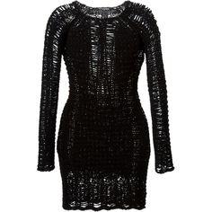 BALMAIN Open Knit Fitted Dress (5 815 SEK) ❤ liked on Polyvore featuring dresses, black dress, tight dresses, long sleeve cotton dress, long sleeve tight dresses et short tight dresses
