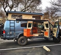 Sportsmobile with Aluminess bumpers and ladder. Photo: @van_grrrl - Pinterest