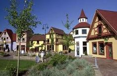 Frankenmuth, Michigan.  A taste of Germany.  These are  the shops as you cross the river.  Very nice.