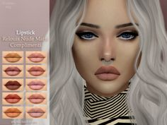 Lipstick Relouis Nude Matte Complimenti• base game ❤️  • 10 colors ❤️  • HQ texture ❤️  • Works with all skins ❤️  • Custom CAS image ❤️  DOWNLOAD (simfileshare)  DOWNLOAD (TSR)• If you have any problems with the display of this lipstick please let me...