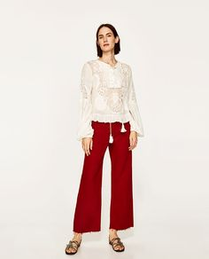 ZARA - WOMAN - EMBROIDERED LACE BLOUSE