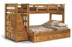 Bedroom. Hickory Wooden Twin Bunk Bed For Adult With Stairs And Storage Drawers Added By Safety Rails Also White Floral Beddings For You With  Also . Amazing Inspirations Of Adult Loft Beds