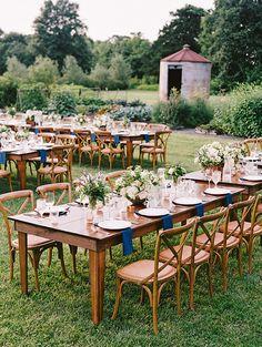 Virginia Wedding at Fat Cat Farm, Farm Tables, Wooden Chairs, Blue Napkins