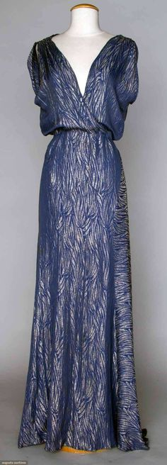 Evening Gown: ca. mid 1930's, silk brocaded with lamé in palm frond motif.   Augusta Auctions, April 17, 2013 - NYC, Lot 351