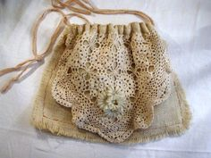 Burlap Drawstring Pouch Purse Vintage by SweetRepeatVintage, $32.00