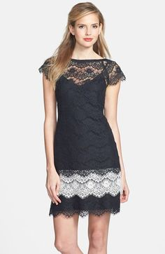 Jessica Simpson Short Sleeve Tiered Lace Dress available at #Nordstrom