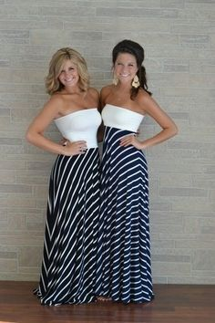 an excellent DIY maxi to die for...This picture also goes to show that cut on a dress makes your body look different ways. The girls are ultimately the same height.