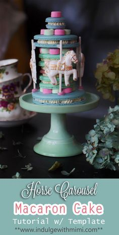 Breathtaking Horse Carousel Macaron Cake Tutorial with video and several different sized shell templates.