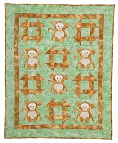 Monkey Business Animal Baby Sewing Quilt PATTERN by section247, $8.50