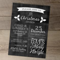 Christmas Invitations Chalkboard / Christmas Dinner Party Invites / Red Green Silver / May your Days be Merry and Bright Christmas Dinner Invitation, Thanksgiving Invitation, Christmas Flyer, Christmas Invitations, Dinner Invitations, Digital Invitations, Invites, Invitation Ideas, Christmas Time
