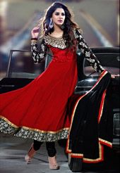 Red and black anarkali