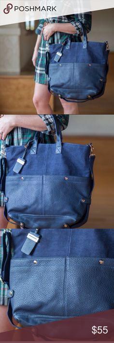 Brielle Vegan pebble leather suede bag. Blue Brielle Vegan pebble leather suede handbag with strap for cross body. Bags Shoulder Bags