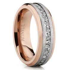 Rose Plated Brushed Titanium Wedding Ring Eternity Band with Channel Set Princess Cut Cubic Zirconia 8mm