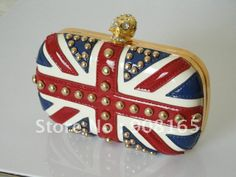 wholesale new arrival 2012 new design women fashion handbags/lady punk rivet pu British flag evening clutch bags.free shipping