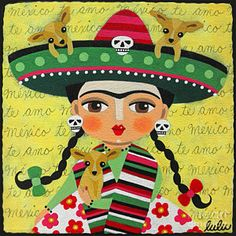 Girl Painting - Frida Kahlo With Sombrero And Chihuahuas by LuLu Mypinkturtle