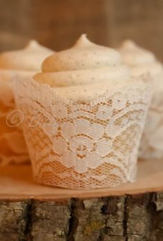 Amazon.com: Set of 12 - Real Ivory Lace Cupcake Wrappers / Liners - wedding, rustic, vintage, princess, tea party, birthday, bridal shower, baby, bachelorette: Handmade