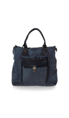 Midnight blue tote bag in sturdy canvas. With cross-body strap, too. Love the color and detailing.