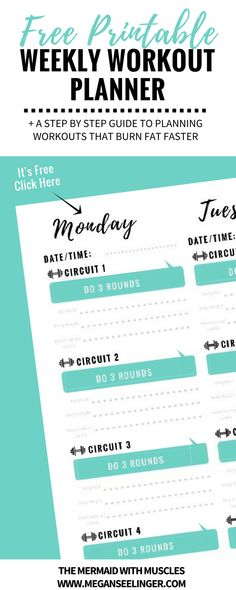 You want to start going to the gym or have already started, but feel like your still thinking, What should I do at the gym? I need a workout plan. I have created a free printable weekly workout planner that will show you exactly how to make your own workout plan to lose weight at the gym. This easy system is fail proof and will map out the perfect workout program for women to burn fat, build muscle and enter the gym with determination!