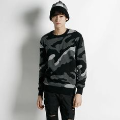 Remember Click Camouflage Print Crew Neck Sweater BLACK NAVY M L Korean Wear #RememberClick #Crewneck