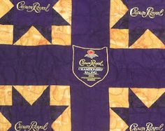 Katie's Quilts and Crafts: Crown Royal Quilt Finished! Crown Royal Quilt, Crown Royal Bags, Rag Quilt, Quilt Blocks, Quilts, Quilting Tips, Quilting Projects, Sewing Projects, Diy Projects