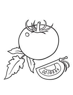 Printable tomato coloring page. Free PDF download at http://coloringcafe.com/coloring-pages/tomato/.