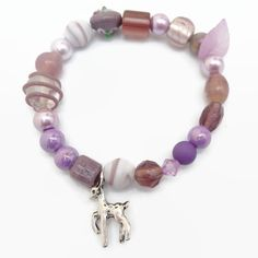 Purple Mauve and Silver Plated Elasticated Bracelet Reindeer £4.00