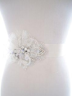 Vintage Style Bridal Wedding Crystal Sash, Lace Belt, Wedding Bridal Crystal Rhinestone Belt