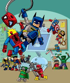 Marvel vs. DC! I am Marvel all the way. Look Wolverine chopped Superman in half! Yay!