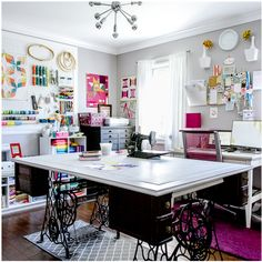 The Studio of Holly DeGroot ~ Love the cutting table supported by 2 old sewing machine treadle bases ~ craft really room Sewing Room Design, Craft Room Design, Sewing Spaces, My Sewing Room, Sewing Studio, Sewing Rooms, Design Room, House Design, Sewing Room Organization