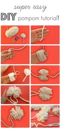 How to make yarn pom poms! http://www.baker-builder.com/how-to-make-a-yarn-pom-pom/