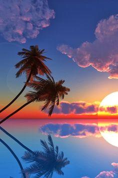 coucher de soleil Sky Sunset Sunrise World Beauty Photography Landscape Landscape photography Beauty Teal Nature Beautiful Sunset, Beautiful World, Beautiful Places, Amazing Places, Reflection Pictures, Tropical Paradise, Belle Photo, Pretty Pictures, Amazing Pictures