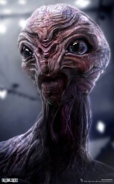 Here is one of the Alien designs of Cochise I did for FALLING SKIES season 2 and Really fun show to work for. Alien Creatures, Fantasy Creatures, Mythical Creatures, Humanoid Creatures, Aliens And Ufos, Ancient Aliens, Saga Art, Alien Photos, Alien Character