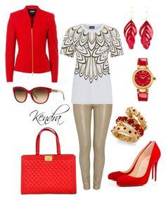 """""""Red With A Golden Touch"""" by k1974johnson1117 ❤ liked on Polyvore featuring Basler, Morgan, Just Cavalli, Christian Louboutin, Versace, Chanel, Aurélie Bidermann, Burberry and Style & Co."""