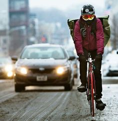 bike messenger in the snow